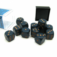 Kockice za društvene igre Chessex Opaque Dusty Blue with Gold 16mm D6 Dice Blocks (12 Dice)
