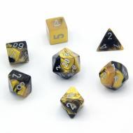 Chessex Black Gold with Silver 7 die set kockica, društvena igra, porodična igra, poklon, board game, dečija igra, rođendan, pametan poklon
