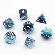 Chessex Black Shell with White 7 die set kockica, društvena igra, porodična igra, poklon, board game, dečija igra, rođendan, pametan poklon