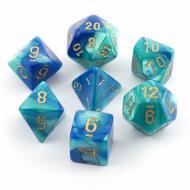 Chessex Blue Teal with Gold 7 die set kockica, društvena igra, porodična igra, poklon, board game, dečija igra, rođendan, pametan poklon