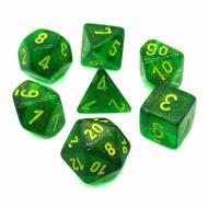 Chessex Maple Green with Yellow set od 7 kockica, frp, rpg, kockice d&d kockice