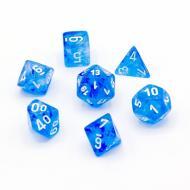 Chessex Sky Blue with White 7 die set kockica, društvena igra, porodična igra, poklon, board game, dečija igra, rođendan, pametan poklon