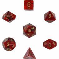 Chessex Burgundy with Gold 7 die set kockica, društvena igra, porodična igra, poklon, board game, dečija igra, rođendan, pametan poklon