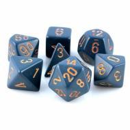Chessex Dusty Blue with Copper 7 die set kockica, društvena igra, porodična igra, poklon, board game, dečija igra, rođendan, pametan poklon