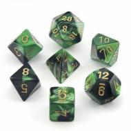 Chessex Gemini Black Green with Gold 7-Dice Set