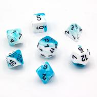 Chessex White Teal with Black set od 7 kockica, frp, rpg, kockice d&d kockice