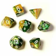 Chessex Gold Green with White 7 die set kockica,društvena igra, porodična igra, poklon, board game, dečija igra, rođendan, pametan poklon