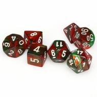 Chessex Green Red with White 7 die set kockica, društvena igra, porodična igra, poklon, board game, dečija igra, rođendan, pametan poklon
