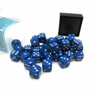 Kockice za društvene igre Chessex Opaque Blue with White 12mm D6 Dice Blocks (36 Dice)