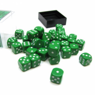 Kockice za društvene igre Chessex Opaque Green with White 12mm D6 Dice Blocks (36 Dice)