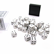 Kockice za društvene igre Chessex Opaque White with Black 12mm D6 Dice Blocks (36 Dice)
