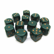 Kockice za društvene igre Chessex Opaque Dusty Green with Gold 16mm D6 Dice Blocks (12 Dice)
