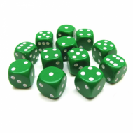 Kockice za društvene igre Chessex Opaque Green with White 16mm D6 Dice Blocks (12 Dice)