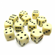 Kockice za društvene igre Chessex Opaque Ivory with Black 16mm D6 Dice Blocks (12 Dice)