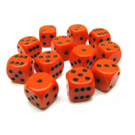 Kockice za društvene igre Chessex Opaque Orange with Black 16mm D6 Dice Blocks (12 Dice)