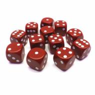 Kockice za društvene igre Chessex Opaque Red with White 16mm D6 Dice Blocks (12 Dice)
