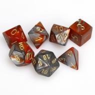 Chessex Orange Steel with Gold 7 die set kockica, društvena igra, porodična igra, poklon, board game, dečija igra, rođendan, pametan poklon