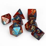 Chessex Red Teal with Gold 7 die set kockica, društvena igra, porodična igra, poklon, board game, dečija igra, rođendan, pametan poklon