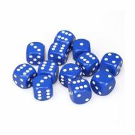 Chessex Opaque Blue with White 16mm D6 Dice Block (12 Dice)