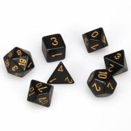 Chessex Black with Gold 7 die set kockica, društvena igra, porodična igra, poklon, board game, dečija igra, rođendan, pametan poklon