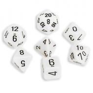 Chessex White with Black 7 die set kockica, društvena igra, porodična igra, poklon, board game, dečija igra, rođendan, pametan poklon