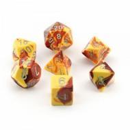 Chessex Red Yellow with Silver set od 7 kockica, frp, rpg, kockice d&d kockice
