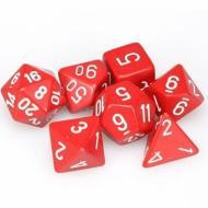 Chessex Red with White 7 die set kockica, društvena igra, porodična igra, poklon, board game, dečija igra, rođendan, pametan poklon