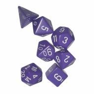 Chessex Purple with White 7 die set kockica, društvena igra, porodična igra, poklon, board game, dečija igra, rođendan, pametan poklon