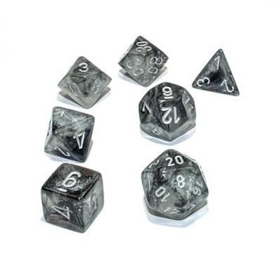 Dungeons & Dragons Chessex Borealis Light Smoke with Silver kockice