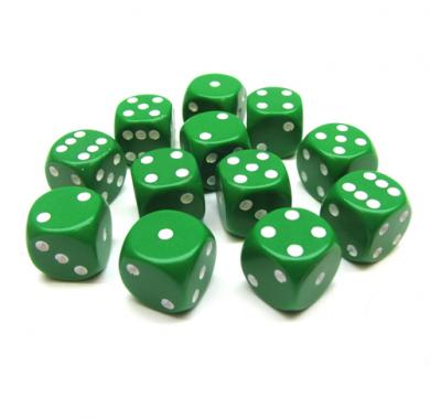 Kockice za društvene igre Chessex Opaque Green with White 16mm D6 Dice Block (12 Dice)